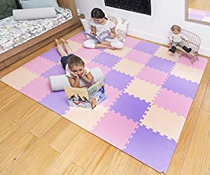 MioTetto Soft Non-Toxic Foam Baby Play Mat | Toddler Playmat | Colorful Jigsaw Puzzle Play Mat | 16 Squares Foam Floor Mats for Kids & Babies | EVA Foam Interlocking Tiles for Gym, Nursery, Playroom