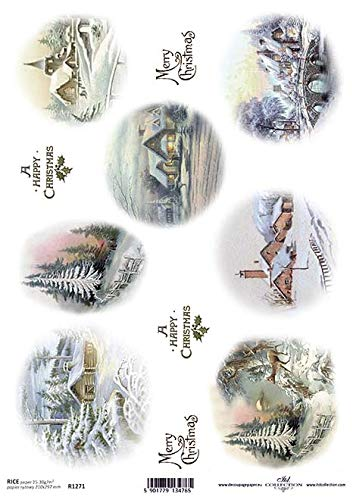 Frl.Erna Reispapier, Decoupagepapier, Motivpapier, Strohseide, Papier, R1271 * Winterlandschaften, Winter, Schnee, Häuser, Kirchen
