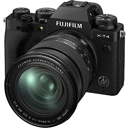 Fujifilm X-T4 Fotocamera Digitale Mirrorless 26MP con Obbiettivo XF16-80mmF4 R OIS WR, Sensore X-Trans CMOS 4, IBIS, Filmati 4K 60p, Mirino EVF, Schermo LCD 3' Touch Vari-Angle, Nero
