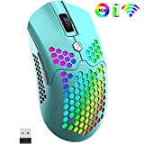 Wireless Gaming Mouse,Two Modes Wireless/Wired RGB Gaming Mouse with Ultralight Honeycomb Shell,Pixart 3325 12000 DPI,Rechargeable 800mA Battery,Programmable Driver for PC Gamers(Macaron Green)
