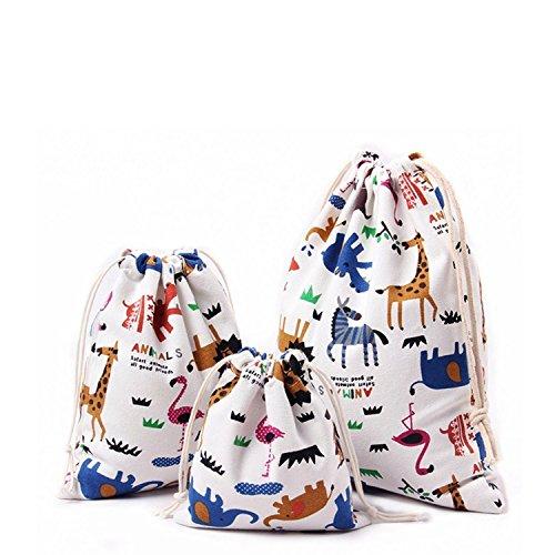 3 unidades bolsas algodón con cuerda organizadore para bebé ropa juguete pañale
