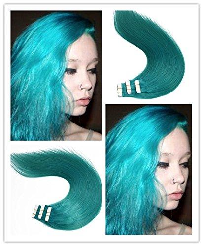 Lot de 20 extensions de cheveux à bande adhésive - 50 g - 35,6 cm, 40,6 cm, 45,7 cm, 50,8 cm, 55,9 cm, 61 cm - 100 % cheveux humains Remy naturels - Couleur bleu sarcelle - 35,6 cm