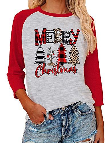 Women Leopard Plaid Merry Christmas Trees Raglan Sweatshirt Color Splicing Baseball Long Sleeve T-Shirt (Red, Medium)