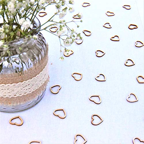 Wedding Table Decorations Hollow Rustic Small Wooden Love Hearts Wedding Table Confetti (100 Hearts)