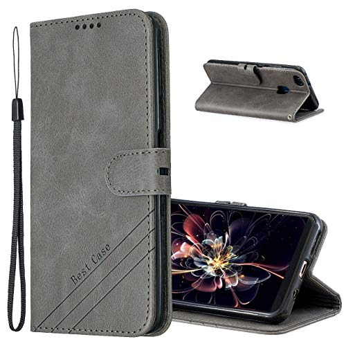MRSTER Cover per Huawei P10 Lite, Semplice ed Elegante Book Style Internamente Silicone TPU Case Flip Cover in Pelle PU Premium Custodia per Huawei P10 Lite. Retro Gray