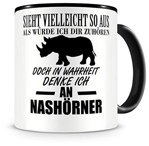 Samunshi® Ich denke an Nashörner Tiere Tasse Kaffeetasse Teetasse Kaffeepott Kaffeebecher Becher
