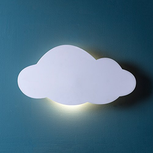 Lights4fun, Inc. Cloud Silhouette Battery Operated Bedroom Wall Night Light with Remote Control