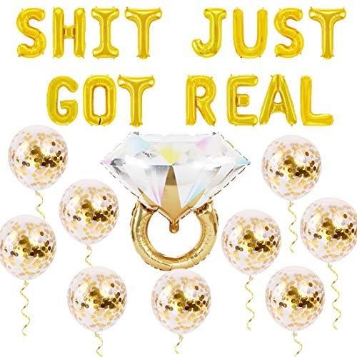 Jollyboom Mierda Acaba de Recibir decoración Real Globo de Anillo de Diamantes para Compromiso de Boda Despedida de Soltera Anuncio de Embarazo Decoración de Fiesta