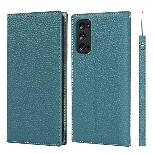 SailorTech för Samsung Galaxy S20 FE plånboksfodral, lyxig Litchi-korn äkta läderfodral skydd med handledsrem folio flip telefonfodral med kort kontanter platser hållare ställ påfågel blå