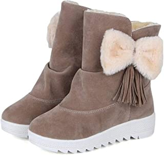 c9319c7e497 T-JULY Fur Female Warm Ankle Boots Women Cute Bowknot Snow Boots and Autumn  Winter