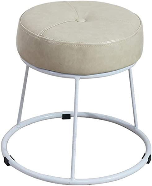 Iron Art Round Change Shoe Stool Upholstered Ottoman Footstool Luxury Dining Chair Dressing Stool With PU Leather Cover White Size High36 5cm