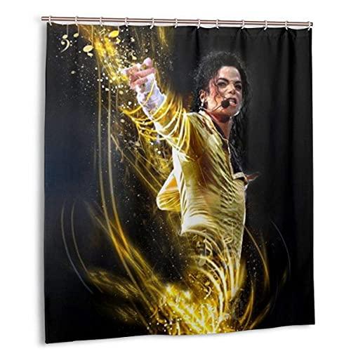 Hirola Duschvorhang Michael Jackson aus wasserdichtem Polyestergewebe mit 12 Kunststoff-Haken, 168 x 183 cm