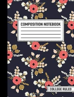 """Composition Notebook: College Ruled: 7.4"""" x 9.7"""" (19cm x 25cm): Coral Pink Modern Florals on Navy 5333"""