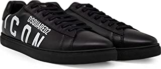 Sneakers in Pelle Nera con Scritta Laterale Bianca (EU, 41)