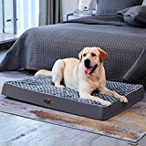 Western Home Extra Large Orthopedic Dog Bed, 42' Dog Beds for Large Dogs Slightly Chew Proof with Soft Rose Plush, 4 Inch Thick Egg Foam Crate Pet Mat with Removable Washable Cover, Grey