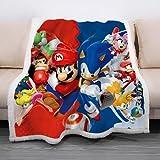 WFQTT Manta Sonic, suave, acogedora, con impresión 3D, para niños y adultos, manta de felpa de dibujos animados para cama y sofá (1,60 x 50 pulgadas)