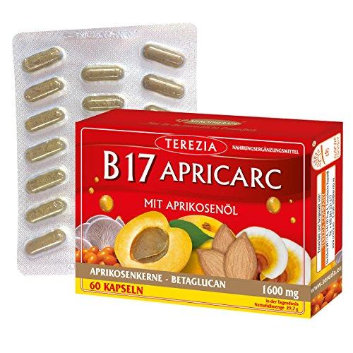 B17 Apricarc con Aceite de Albaricoque, Seta de Ostra, Reishi un Espino amarillo, 60 Cápsulas, 1600 mg