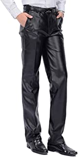 Men`s Classic Business Casual Regular-Fit Faux Leather Pants