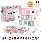 Light Box Rosa A4 mit 300 Buchstaben, Emojis, 2 Stifte, USB - BONNYCO | Ä Ö Ü ß | Pink Led...