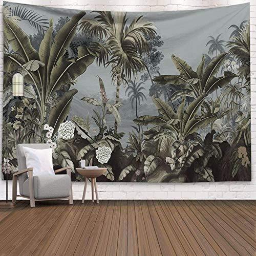 Tapiz grande para colgar en la pared, ideal para viajes, camping, bohemio, con diseño de animales, ideal para yoga, para dormir, diseño de plantas verdes