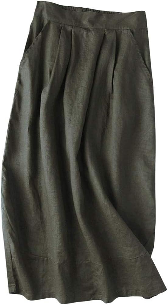 Sxgyubt Women's Casual Skirt Summer Literary Style Loose High Waist Cotton and Linen Solid Color Medium Length Skirt