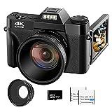 VJIANGER Cámara digital 4K 48MP Pixel Autofocus Vlogging Camera 3' IPS 30FPS Flip...