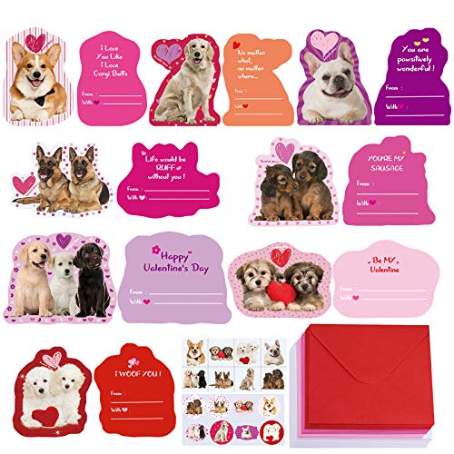48 Sets Assorted Dog Valentine's Day Cards Bulk Cute Pet Love Greeting Cards Assortment Scratch & Sniff Strawberry Scented Cards with Envelopes Stickers Tattoos for Kids Classroom Gift Exchange