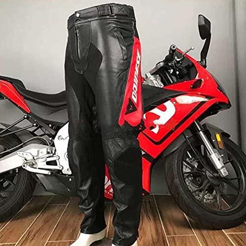 HBYMV Chaqueta de Motociclista de Carreras de Motos Pesadas, Pantalones Impermeables de Motocross para Hombres y Mujeres, Pantalones de Cuero, Negro, Rojo_M