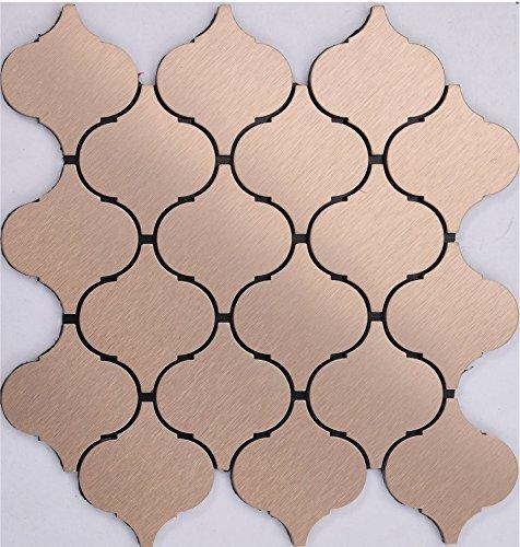 Stile classico Lanterna Mosaico autoadesivo alluminio Mosaico peel&stick Colore facoltativo 300*300mm--Cucina Backsplash/Parete da bagno/decorazione domestica(Q51)