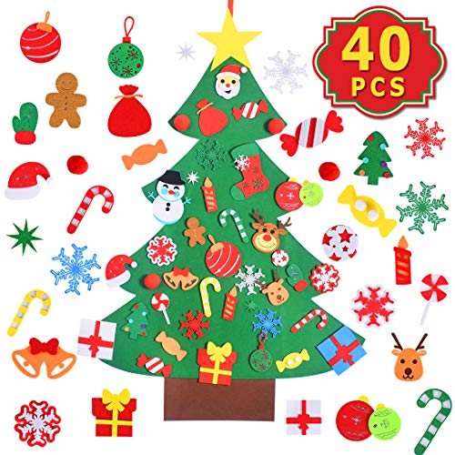 Max Fun DIY Felt Christmas Tree Set with 41PCS Ornaments Home Decorations Wall Hanging Xmas Children