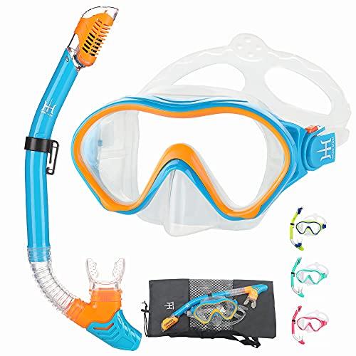HHAO Sport - Equipo de esnórquel para niños, antivaho, vista panorámica de 180°, gafas de natación con cubierta para la nariz, máscara de buceo para niños y niñas de 4 a 15 años de edad