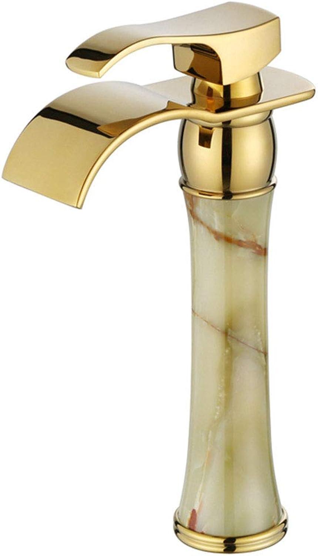 Faucet Wasserfall Wasserhahn Bad Wasserhahn Single-Loch-Single-Griff Erhhung über Zhler Becken Wasserhahn Titan-verGoldete Goldene Jade Becken Wasserhahn