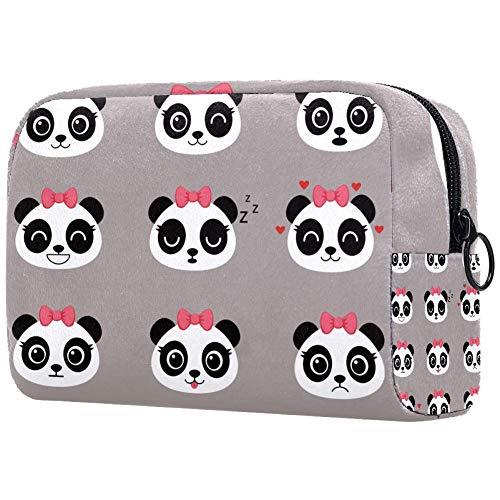 Sac à cosmétiques pour femme, mignon Panda en bambou Plantes jungle oiseau berry fleurs motif de fleurs de maquillage, accessoires organiseur cadeaux