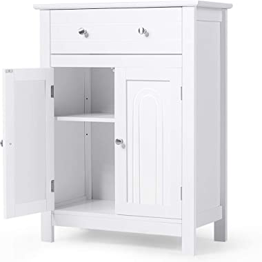 Tangkula Bathroom Storage Cabinet, Free Standing Bathroom Cabinet with Large Drawer, 2 Doors Storage Cabinet with 1 Adjustabl
