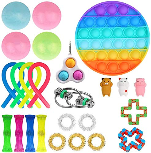 Fidget Toys Set, Sensory Toys Pack Cheap for Kids Adults, Simple Dimple Figetget Toys, Stress Relief and Anti-Anxiety Tools, Fidgeting Game Kill Time(26 Pcs Rainbow Round)
