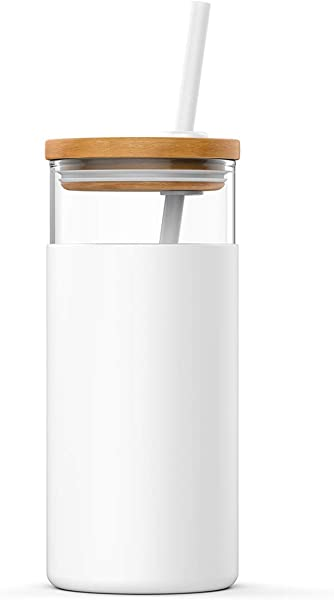 Tronco 20oz Glass Tumbler Glass Water Bottle Straw Silicone Protective Sleeve Bamboo Lid BPA Free