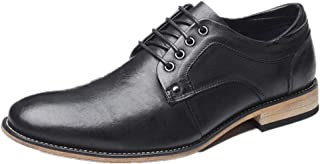 Oxford shoe Oxford for Men Classic Wedding Shoes Lace up Genuine Leather Pointed Toe Vegan Block Heel Stitching CWCUICAN (Color : Black, Size : 50 EU)