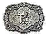Nocona - Hebilla para cinturón de estilo western/cowboy, de plata envejecida, diseño de cowboy rezante, 9,7 x 7,7 cm, color plateado