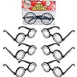 Thick Nerd Glasses Round - Magic Nerd Glasses Accessory, Toys for Kids, 5.5' (2-Pack) Black