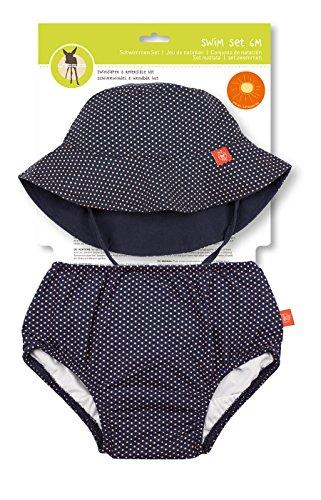 LÄSSIG Baby Kinder Bade Set Hut (wendbar) und Schwimmwindel waschbar Auslaufschutz UV-Schutz 50+/Baby Swim Set  girls, Polka Dots, 18 Monate, blau
