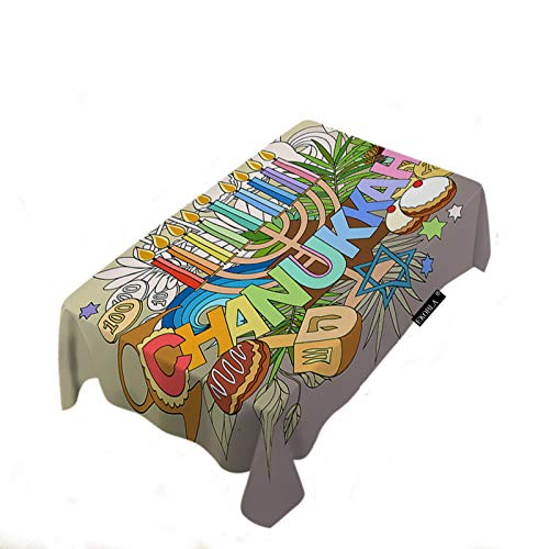 EKOBLA Hanukkah Table Cloth Hand Lettering Doodles Cakes Candles Doughnut Religious Stars Leaves Decorative Fabric Waterproof Table Cover for Men Women Boys Girls Decor Polyester Fibre 60x104 Inch