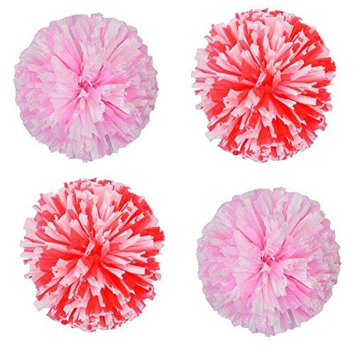 Dragon Troops Set von 4 Plastik Cheerleaders Sport Zubehör Cheerleading Pom Poms, Pink + Red