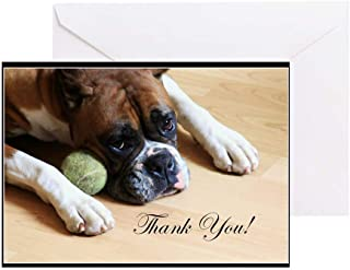 CafePress Thank You Boxer Dog Greeting Card (20-pack), Note Card with Blank Inside, Birthday Card Matte