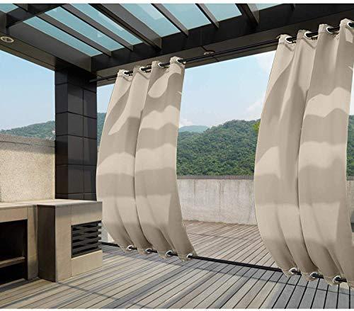 Clothink Outdoor Vorhänge Aussenvorhang B:132xH:215cm mit Ösen Oben(ID:4cm)+Unten(ID:4cm) Winddicht Wasserabweisend Sichtschutz Sonnenschutz UVschutz Beige