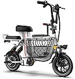 Bicicleta electrica 12 'Gordo Neumático Plegable Bicicleta eléctrica Bicicleta plegable Bicicleta de bicicleta Bicicleta con cesta de almacenamiento 350W 48V 11Ah Batería de litio extraíble Batería de