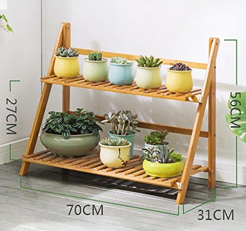 Yxsd Support de Fleur de Bambou, Balcon de l'espace Multi-Couche de Plancher de Salon Pliant Le Support de Fleur (Size : 56cm*71cm)