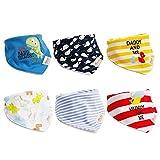 6 baberos triangulares para bebé y niña, pañuelo lavable con botones de...
