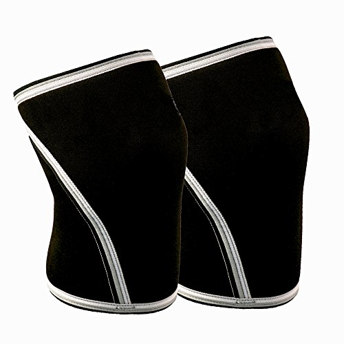 Knee Sleeves (Sold as a set of 2) 7mm Thick Compression Knee Brace Support for Weightlifting, Powerlifting, Squats & CrossFit Training Fitness for Women and Men, Black (Small)
