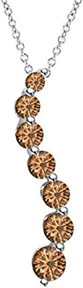 JewelsYard 0.50 Ct Created Round Cut Smoky Quartz Gemstone 925 Sterling Silver Fashionable Wave Design Pendant Necklace for Womens /& Girls