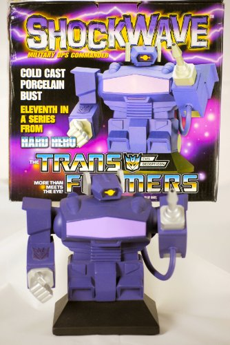 2003 - Hasbro - Hard Hero - The Transformers - Shockwave : Military Ops Commander - Evil Decepticon - Cold Cast Porcelain Bust - 11th in a Series - 1 of 2500 - Fully Painted - Over 6 Inches Tall - Sculpt by Jason Ray - Limited Edition - new - Very Collectible - Out of Production